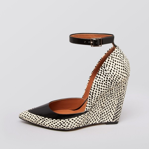 Black Dots Ankle Strap Wedge Heels Pointed Toe Pumps image 2