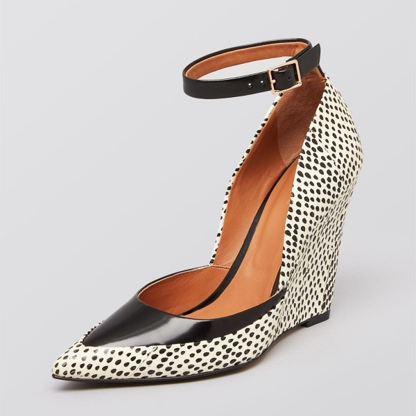 Black Dots Ankle Strap Wedge Heels Pointed Toe Pumps image 1