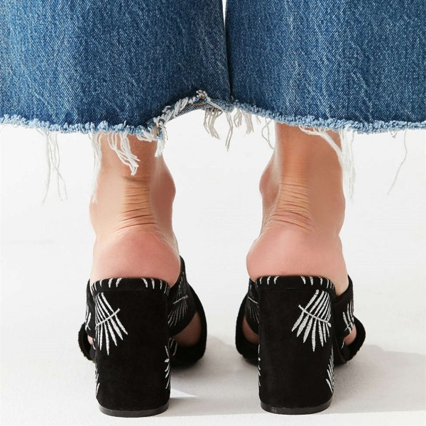 Black Embroidery Suede Cross Over Chunky Heel Mules image 3