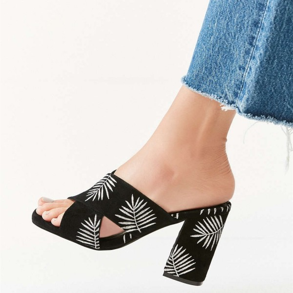 Black Embroidery Suede Cross Over Chunky Heel Mules image 2