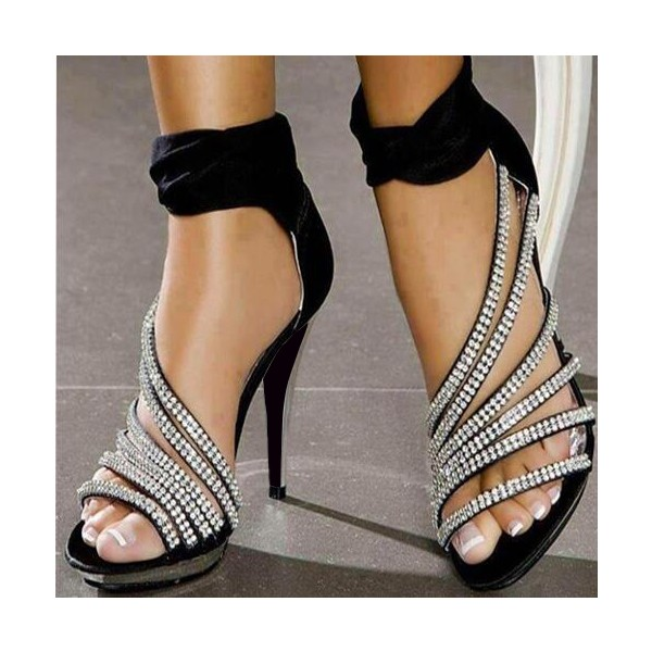 Black Evening Shoes Rhinestone Ankle Strap High Heels Prom Shoes image 1