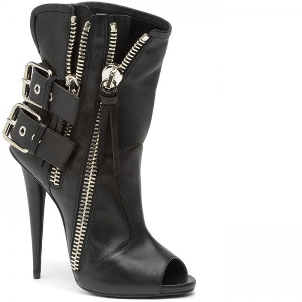 Black Ankle Booties Peep Toe Stiletto Boots with Buckles image 2