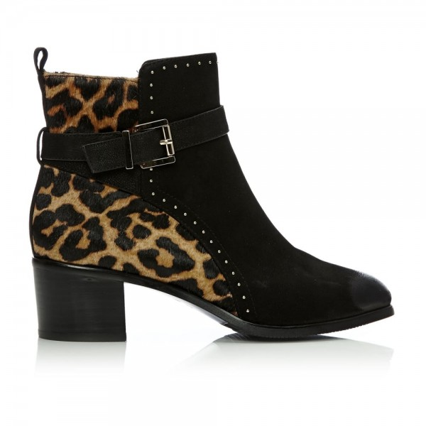 Black and Leopard Booties Round Toe Cheetah Hair Calf Studs Shoes image 2