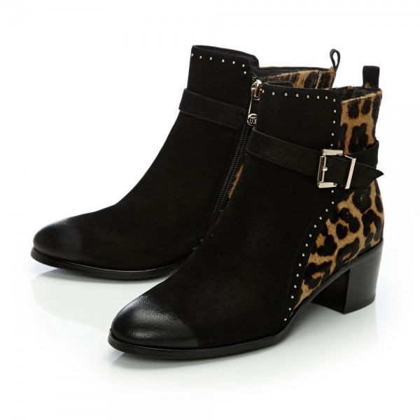 3561dd79e192 Black and Leopard Booties Round Toe Cheetah Hair Calf Studs Shoes image 1  ...