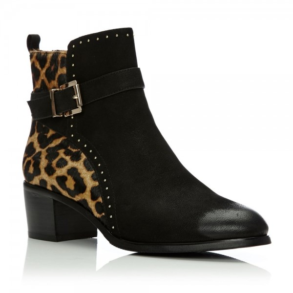 Black and Leopard Booties Round Toe Cheetah Hair Calf Studs Shoes image 6