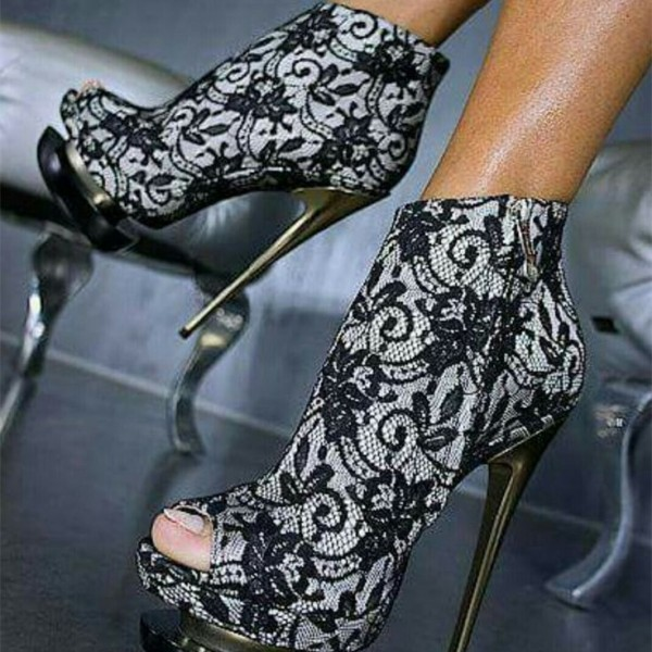Black Lace Fashion Boots Peep Toe Stiletto Heels Platform Ankle Boots image 1
