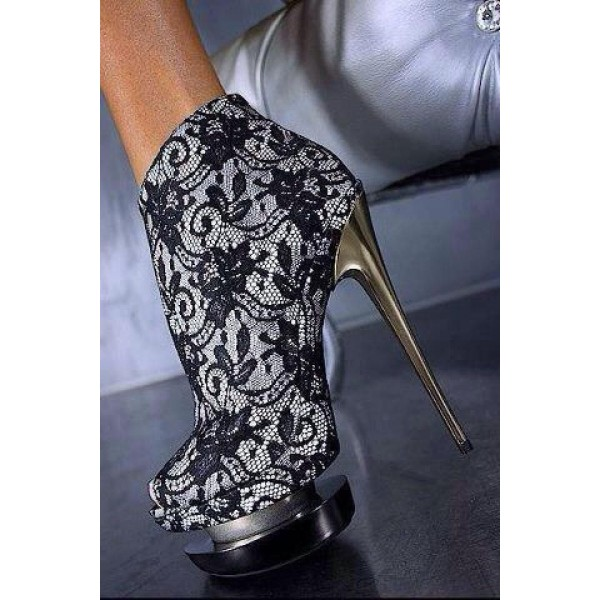 Black Lace Fashion Boots Peep Toe Stiletto Heels Platform Ankle Boots image 2