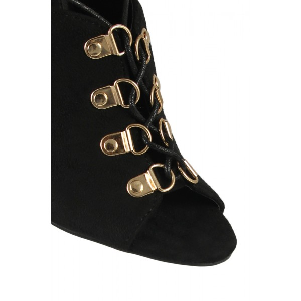 Black Summer Boots Lace up Suede Open Toe Slingback heels image 2