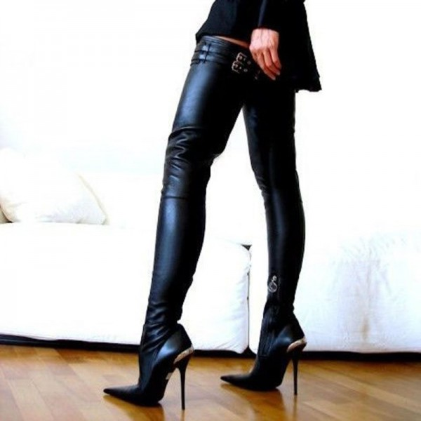 Black Fashion Boots Sexy Pointy Toe Stilettos Thigh-high Long Boots image 1