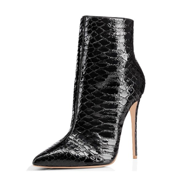 Black Vegan Snakeskin Booties Pointy Toe Stiletto Heel Ankle Boots image 1