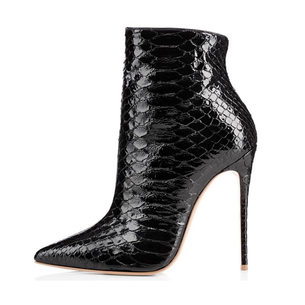 Black Vegan Snakeskin Booties Pointy Toe Stiletto Heel Ankle Boots image 3