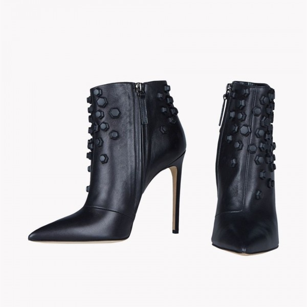 Black Fashion Boots Stiletto Heels Pointy Toe Ankle Boots with Metal image 3