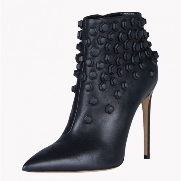 Black Fashion Boots Stiletto Heels Pointy Toe Ankle Boots with Metal image 2