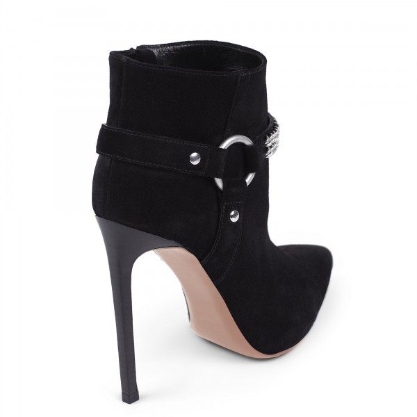 Black 5 Inches Suede Ankle Stiletto Boots with Metal Chain image 4