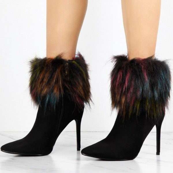 Black Fashion Fur Boots Stiletto Heels Suede Pointy Toe Ankle  Boots image 1