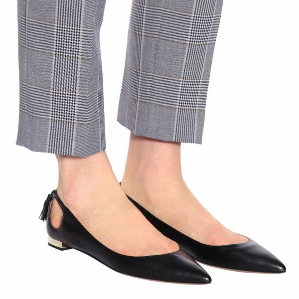 Women's Black Comfortable Flats Pointy Toe Hollow Out Leather Shoes image 4