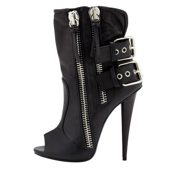 Black Ankle Booties Peep Toe Stiletto Boots with Buckles image 5