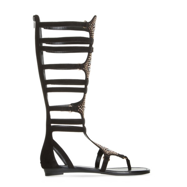 Lelia Black Knee High Gladiator Sandals Rhinestone Strappy Sandals image 3