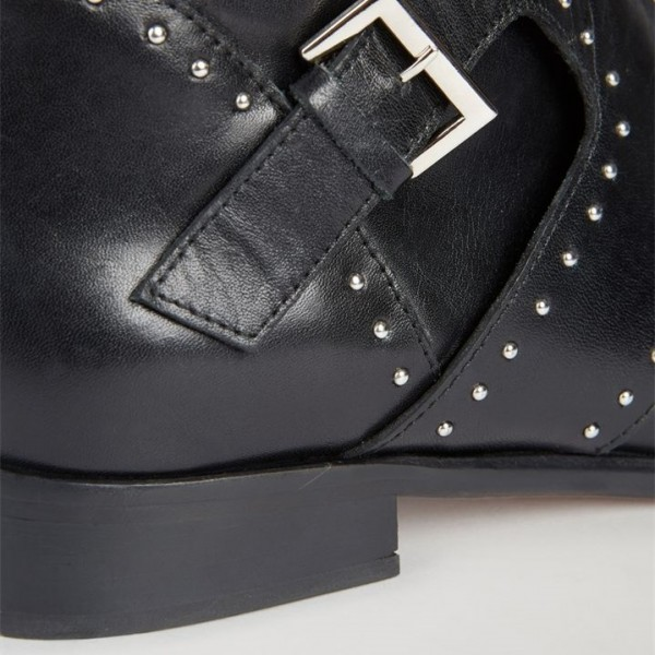 Black Flat Studded Buckles Motorcycle Boots image 4