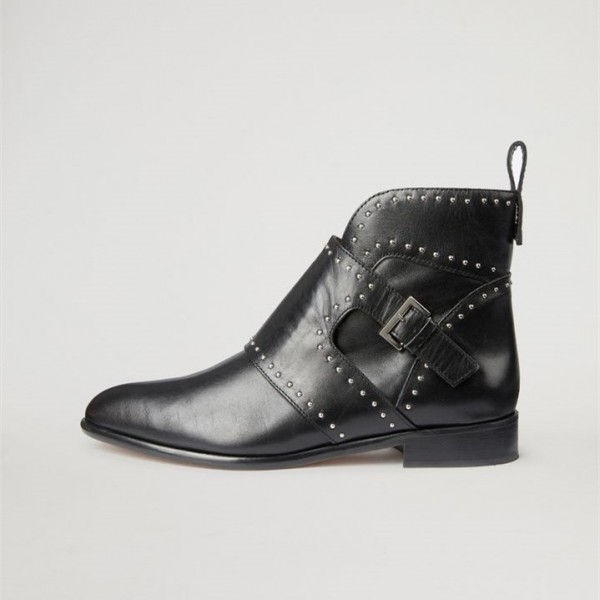 Black Flat Studded Buckles Motorcycle Boots image 3