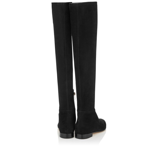 Black Flat Thigh High Boots Round Toe Suede Long Boots image 3