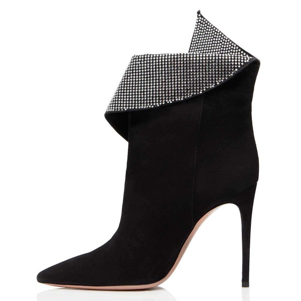 Black Fold Over Rhinestones Pointy Toe Stiletto Heel Ankle Booties image 3