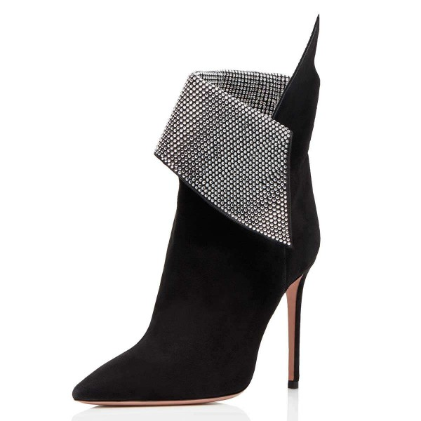 Black Fold Over Rhinestones Pointy Toe Stiletto Heel Ankle Booties image 1