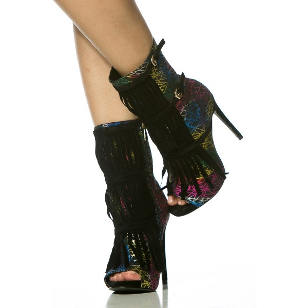 Colorful Fringe Boots Peep Toe Stiletto Heels Fashion Ankle Boots image 3