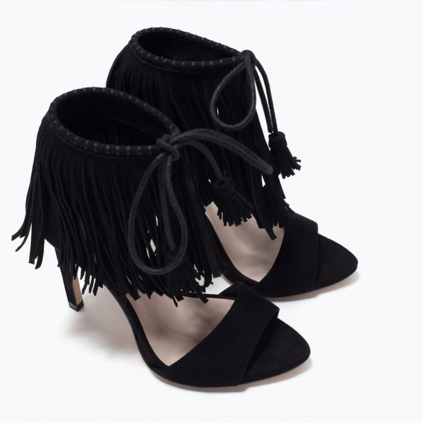 Black Fringe Sandals Suede Lace up Stiletto Heels for Women image 2