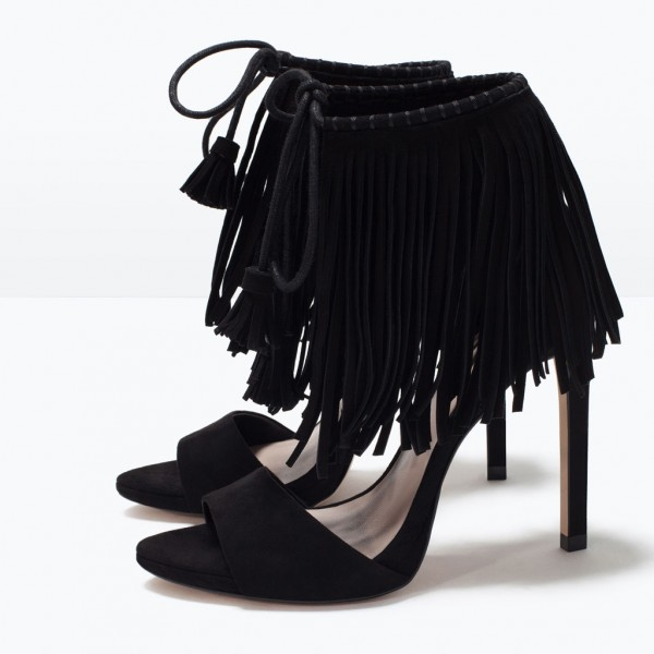 Black Fringe Sandals Suede Lace up Stiletto Heels for Women image 1