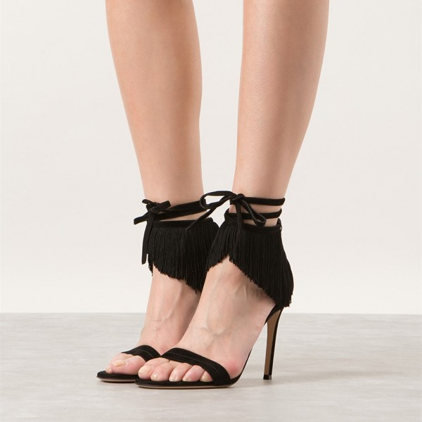 Black Fringe Sandals Suede Open Toe Stiletto Heels Summer Sandals image 3