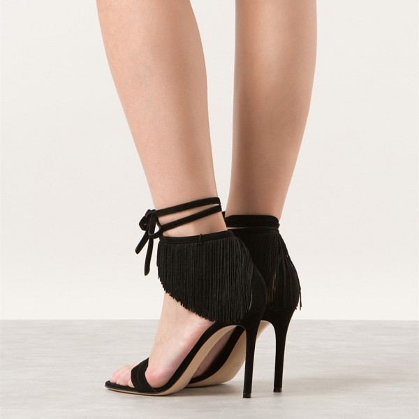 Black Fringe Sandals Suede Open Toe Stiletto Heels Summer Sandals image 2