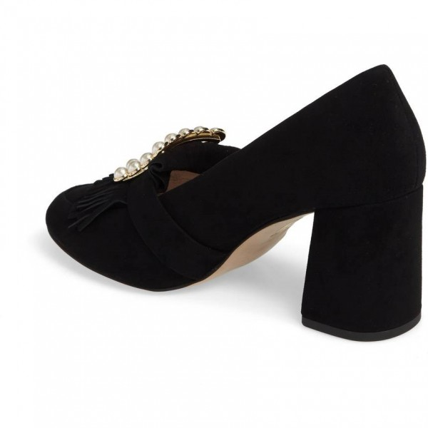 Black Fringe Suede Round Toe Loafers for Women Pearl Block Heels Shoes image 3