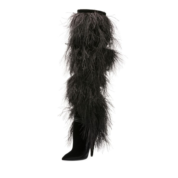 Black Fur Boots Pointy Toe Cone Heels Knee-high Boots image 1