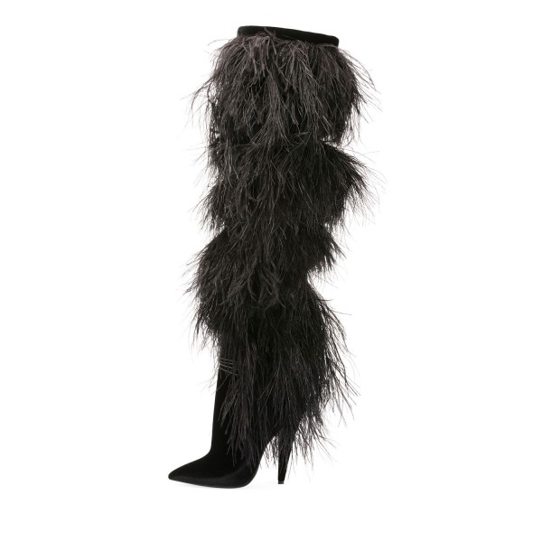 Black Fur Boots Pointy Toe Cone Heels Knee-high Boots image 2