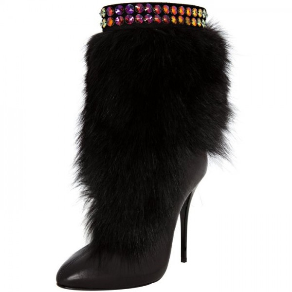 Black Fur Boots Round Toe Stiletto Heels Mid-calf Snow Boots image 1