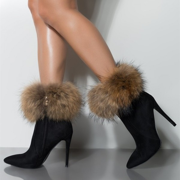 Black Fur Boots Stiletto Heel Ankle Boots image 1
