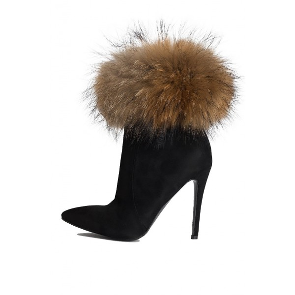 Black Fur Boots Stiletto Heel Ankle Boots image 2