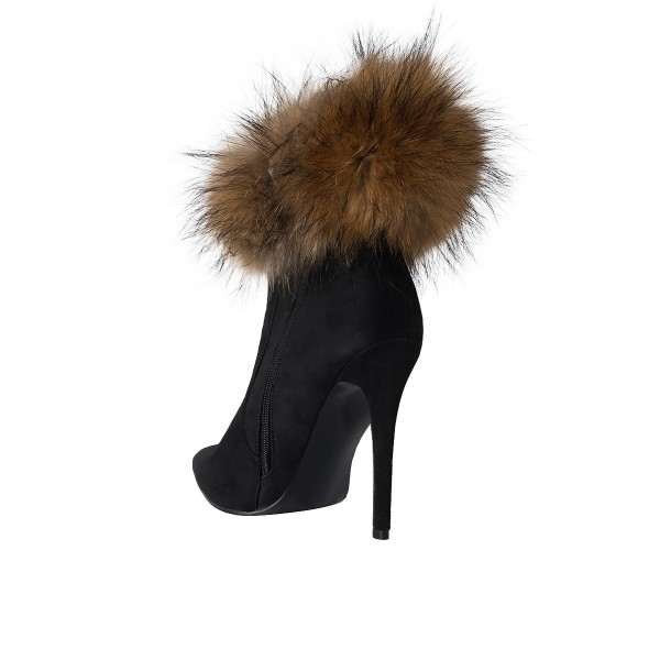 Black Fur Boots Stiletto Heel Ankle Boots image 5