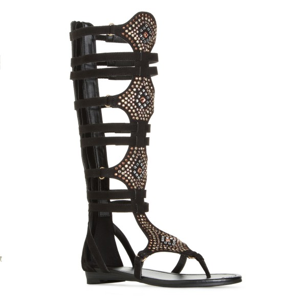 Lelia Black Knee High Gladiator Sandals Rhinestone Strappy Sandals image 4