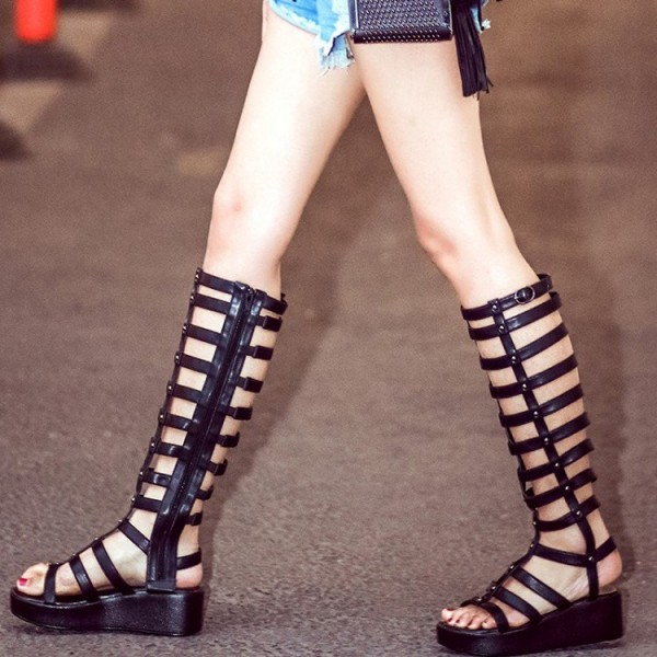 Black Gladiator Sandals Hollow out Knee-high Boots Platform Shoes image 1