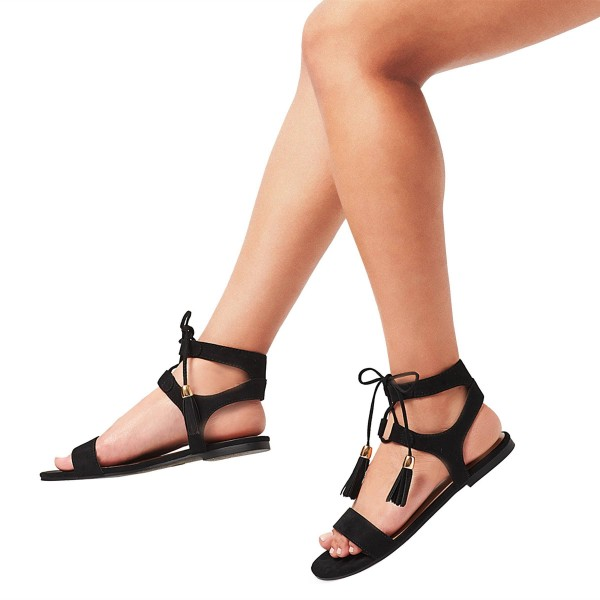 79c4c37a84e ... Black Gladiator Sandals Lace up Flats Strappy Sandals with Tassels  image 3 ...