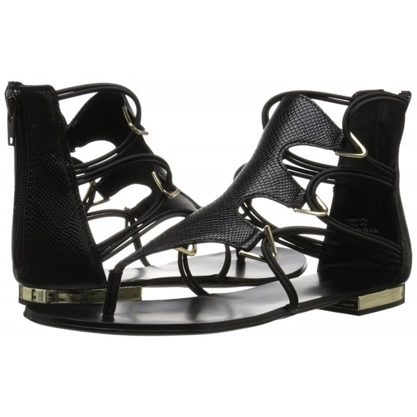 Black Gladiator Sandals Toe-knob Flat Summer Sandals image 4