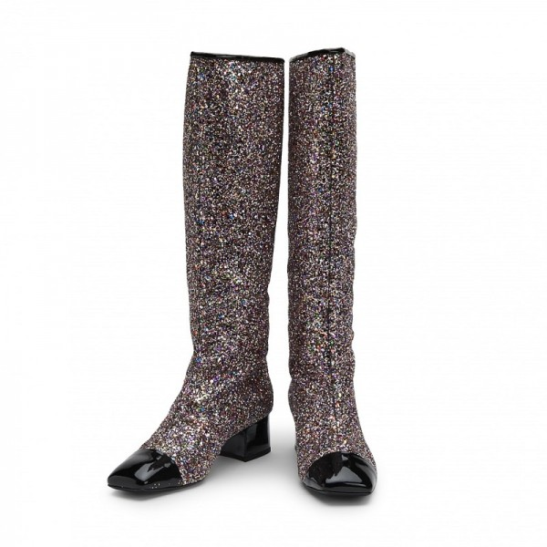 Black Glitter Boots Square Toe Chunky Heel Knee High Boots image 1