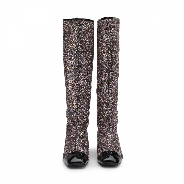 Black Glitter Boots Square Toe Chunky Heel Knee High Boots image 3
