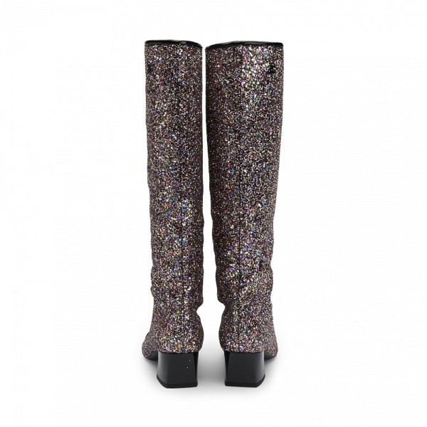 Black Glitter Boots Square Toe Chunky Heel Knee High Boots image 2