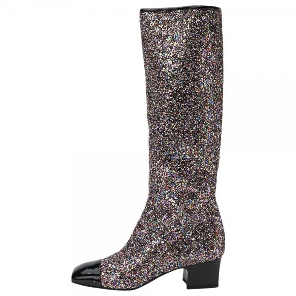Black Glitter Boots Square Toe Chunky Heel Knee High Boots image 4