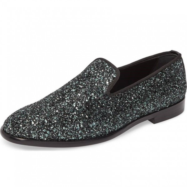 b2008399e42d Black Glitter Loafers for Women Round Toe Comfortable Flats for Work ...