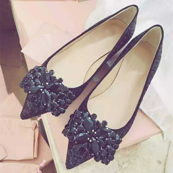 Black Glitter Shoes Rhinestone Pointy Toe Flats image 1