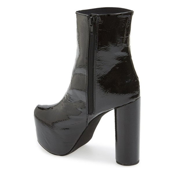 Black Glossy Platform Boots Chunky Heels Ankle Booties for Women image 3